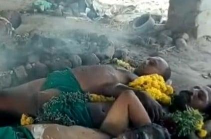 TN farmers protest posing as corpses in crematorium